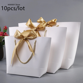 Large Size Gold Present Box For Pajamas Clothes Books Packaging Gold Handle Paper Box Bags Kraft Paper Gift Bag With Handles Dec