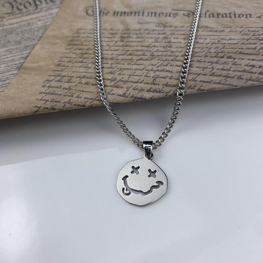 Gothic Style Smile Face Neck Pendant Women Men Long Chain Goth Necklace Couple Jewelry 2021 Cool Streetwear Kpop Collar For Girl