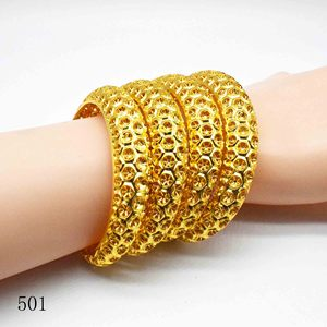 Новый модный браслет Дубай золотой цвет женские манжеты нежный свадебный браслет красивый подарок на день рождения ювелирные изделия 4 шт