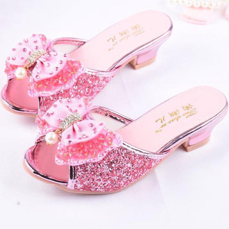 Girls Summer Sandals Slipper Sequined Princesse Children High Heel Party Dress Shoes Leather Slipper For Kids Slides