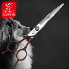 Fenice professional 7 inch left hand use curved pet grooming scissors for dog cutting shears makas tijeras