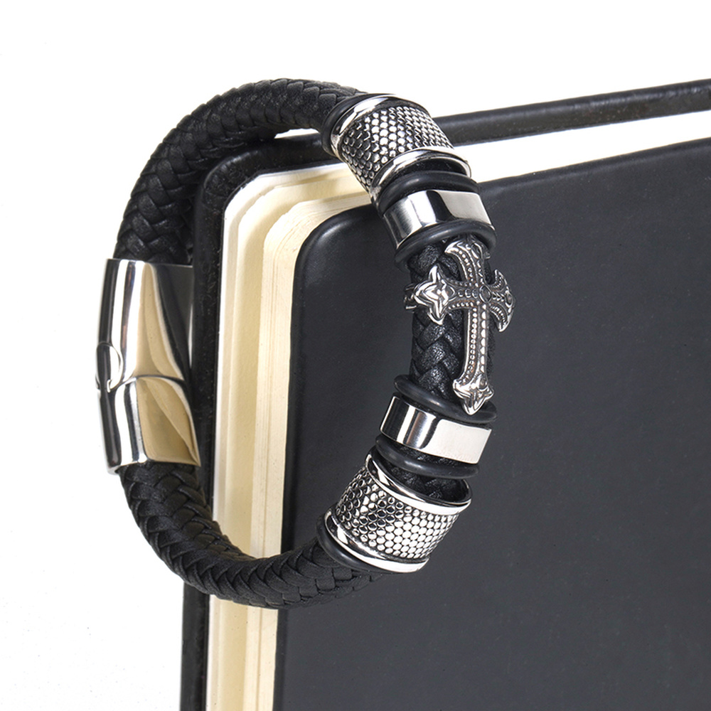 Fashion Punk Genuine Leather Man Cross Bracelet High Quality Magnetic Clasp Father's Day Gift Big Discount