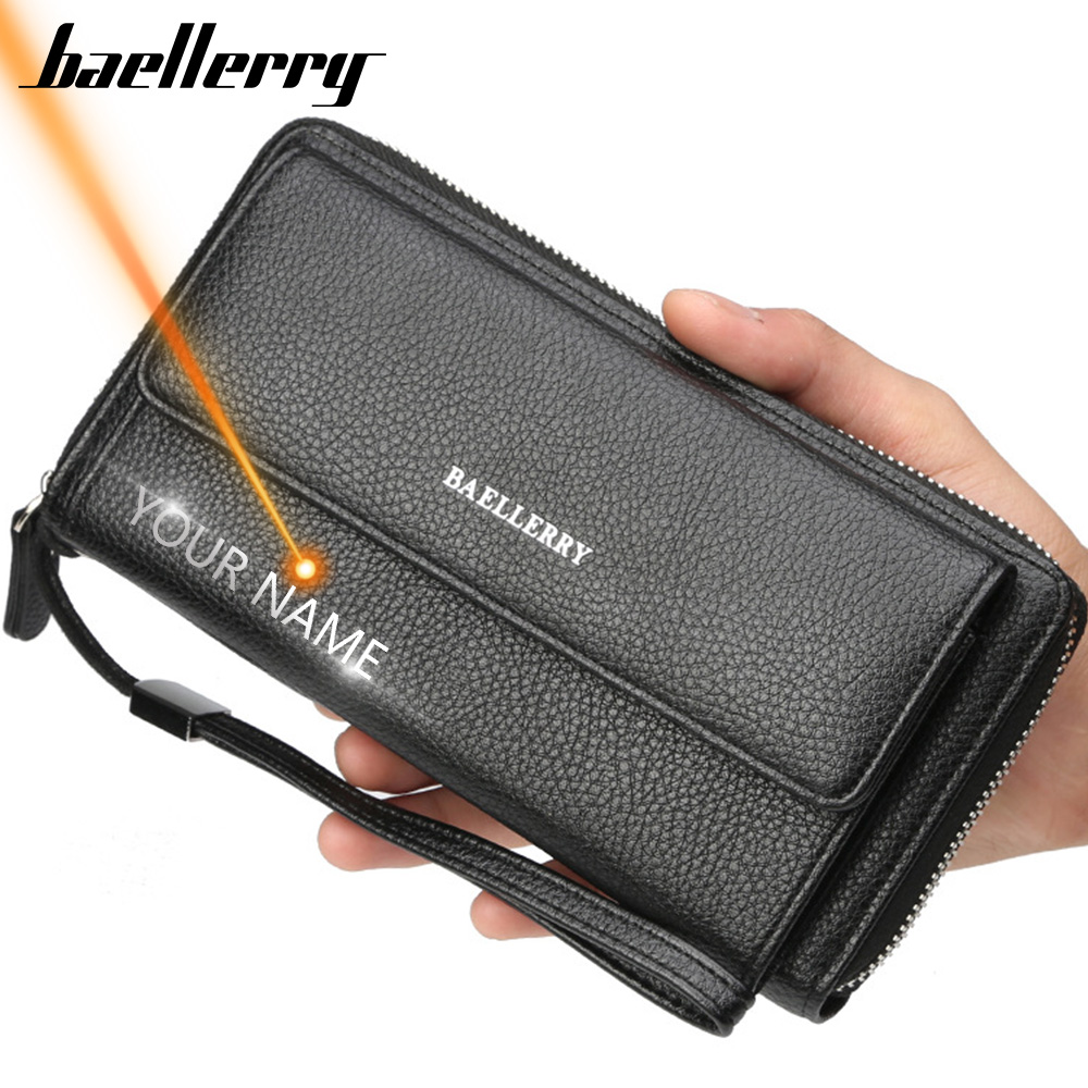 Name Engraving PU Leather Men Clutch Wallets Zipper Large Capacity Hand Strap Men Wallet Luxurious Business Solid Male Purses