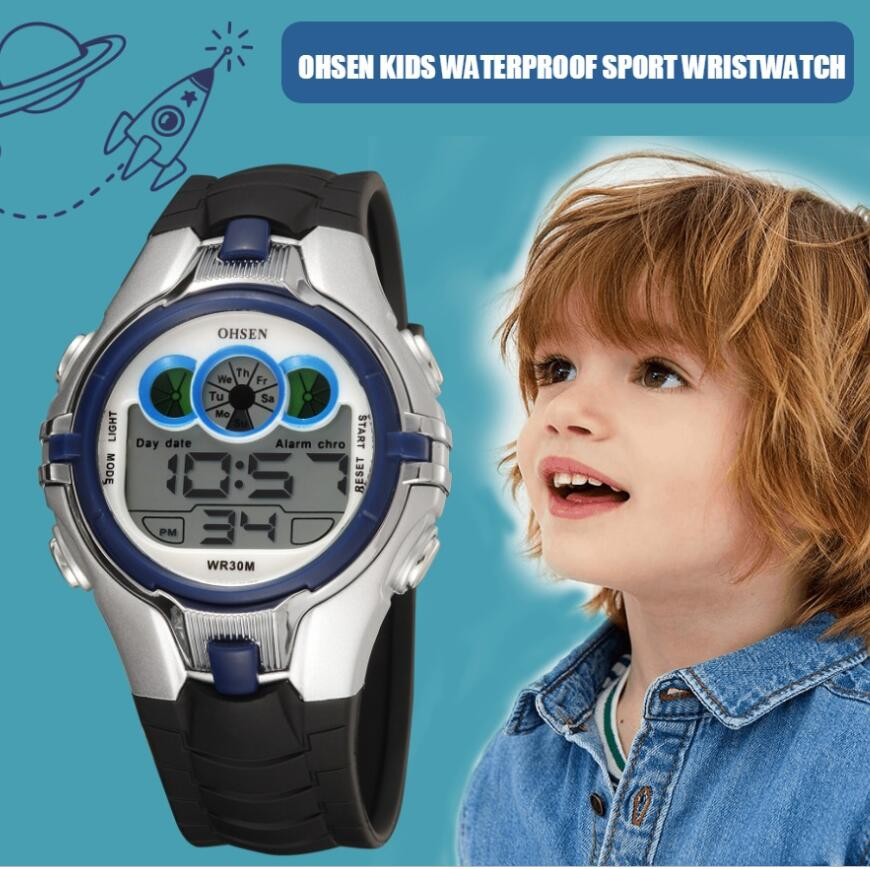 OHSEN LED Digital Kid Jungen Elektronik Uhr Alarm Wasserdichte Kinder Student Blau Silikon Mode Sport Armbanduhr Geschenke