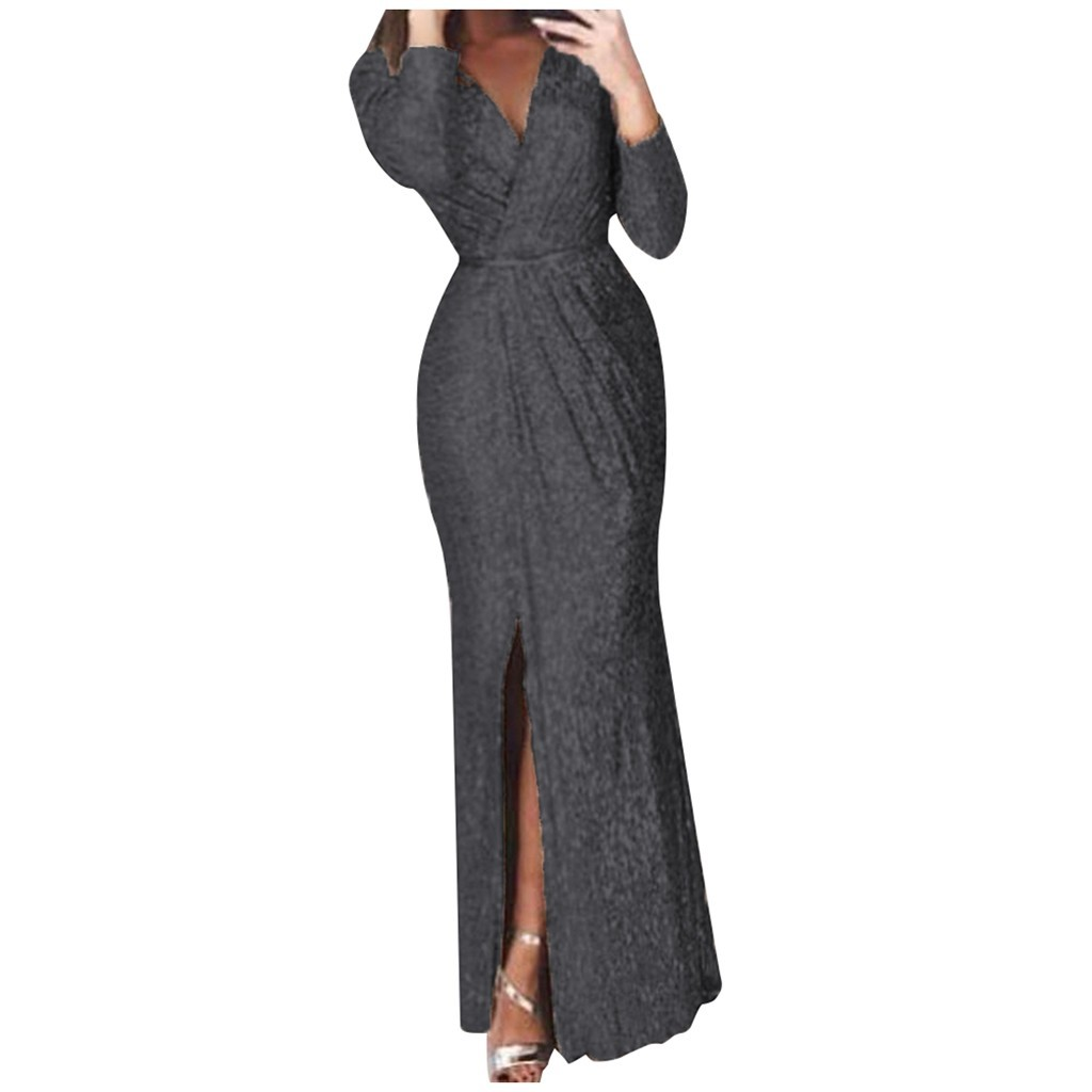 vestido de mujer Fashion Women Solid Color Long Sleeve V Neck Long Formal Dress femme robe