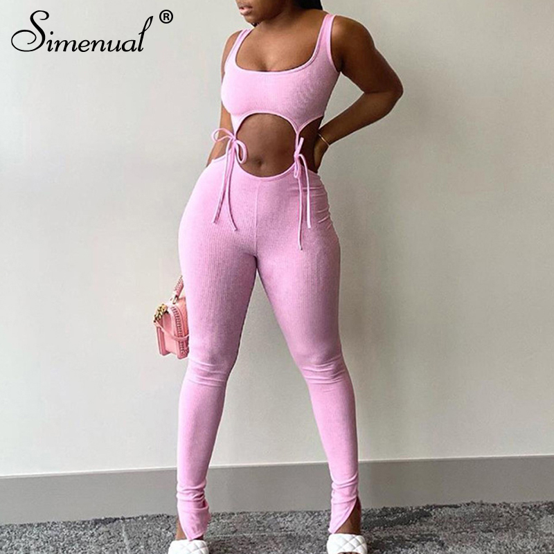 Simenual Bandage Fitness Fashion Women Matching Sets Sleeveless Solid Sporty Workout Two Piece Outfits Skinny Top And Pants Set