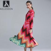 AELESEEN 2020 Hot Sale Ins Style Runway Print Stripe Dresses