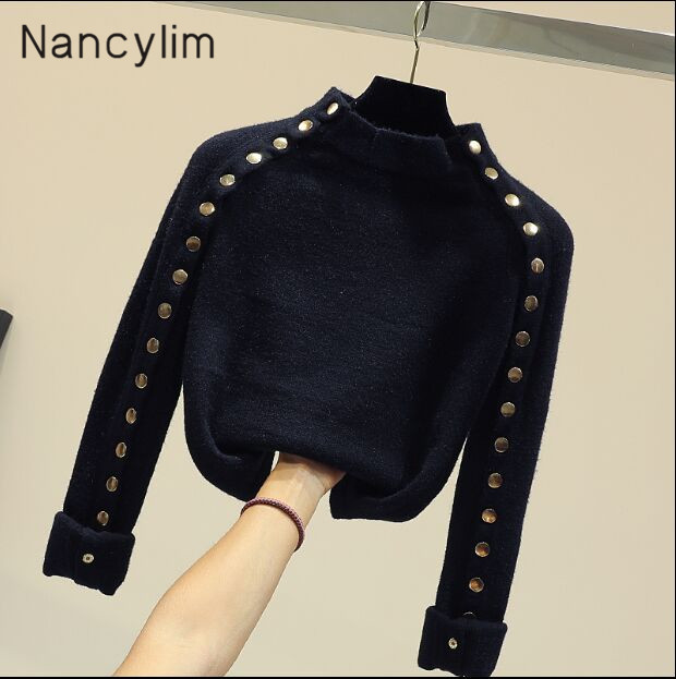 Temperament Chic Double-row Button Pullover Sweater Lady Ins Fashion Warm Knitted Sweater Student Short Knitting Shirt Jumper