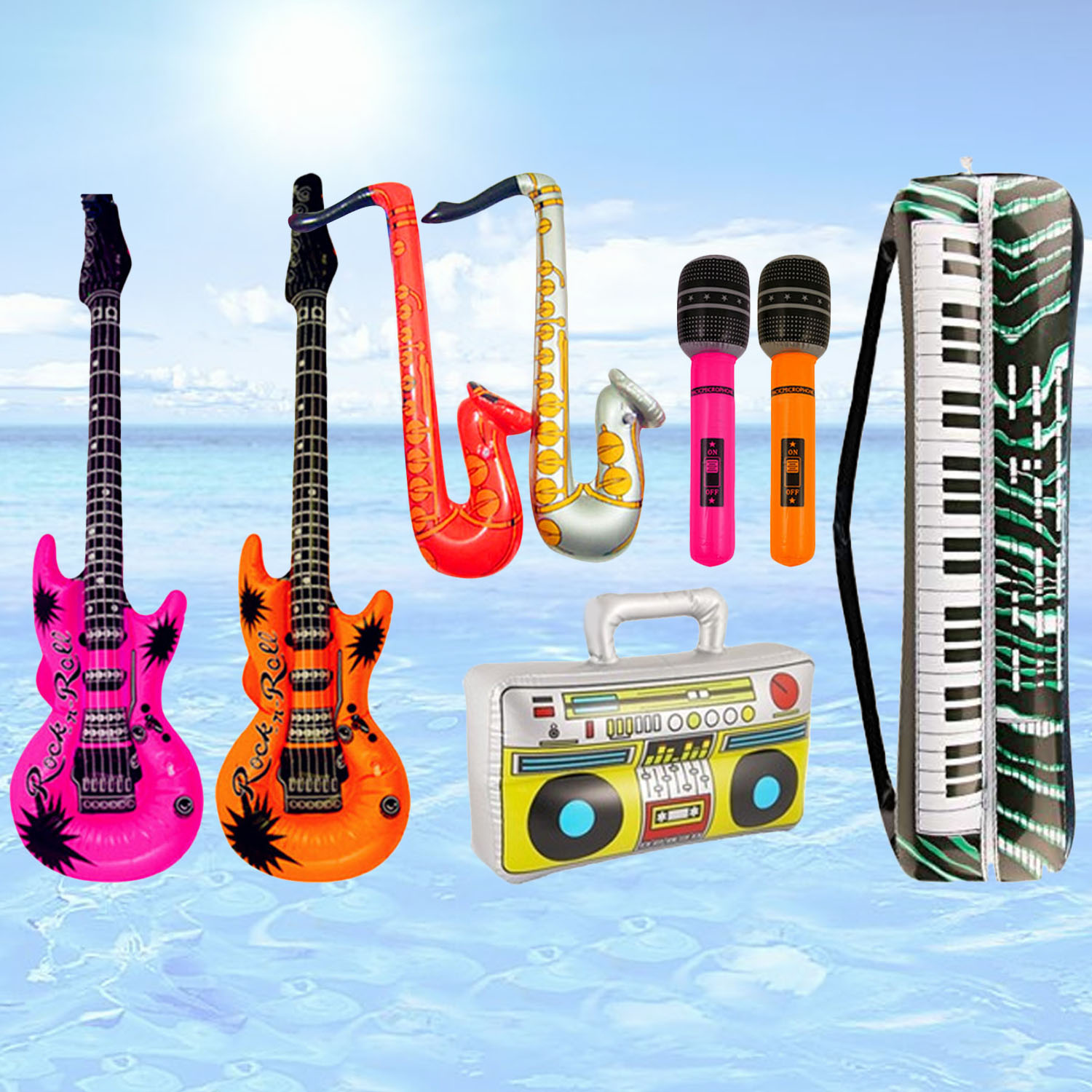 8cps Inflatables Guitar Saxophone Microphone Balloons Musical Instruments Toy Accessories For Swimming Pool Party Supplies Decor