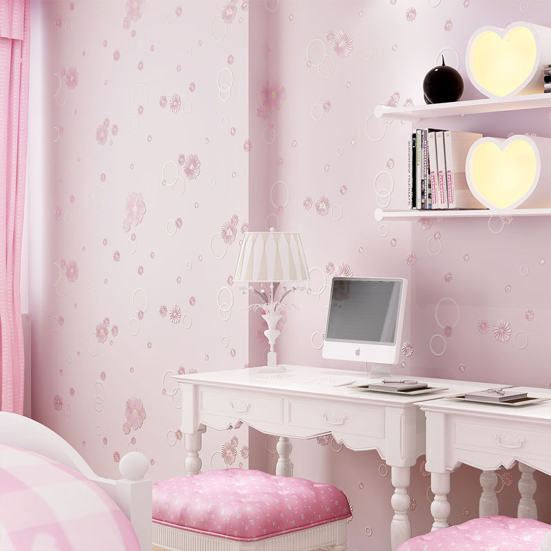 CHILDREN'S Room Warm Nonwoven Fabric Pink Pastoral Style Romantic Small Flower 3D GIRL'S Princess Bedroom Wallpaper