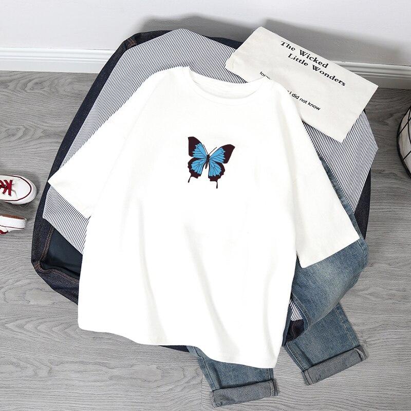 Футболка женская оверсайз с принтом бабочки, модная рубашка с коротким рукавом, топ с графическим принтом в стиле Харадзюку, одежда на лето
