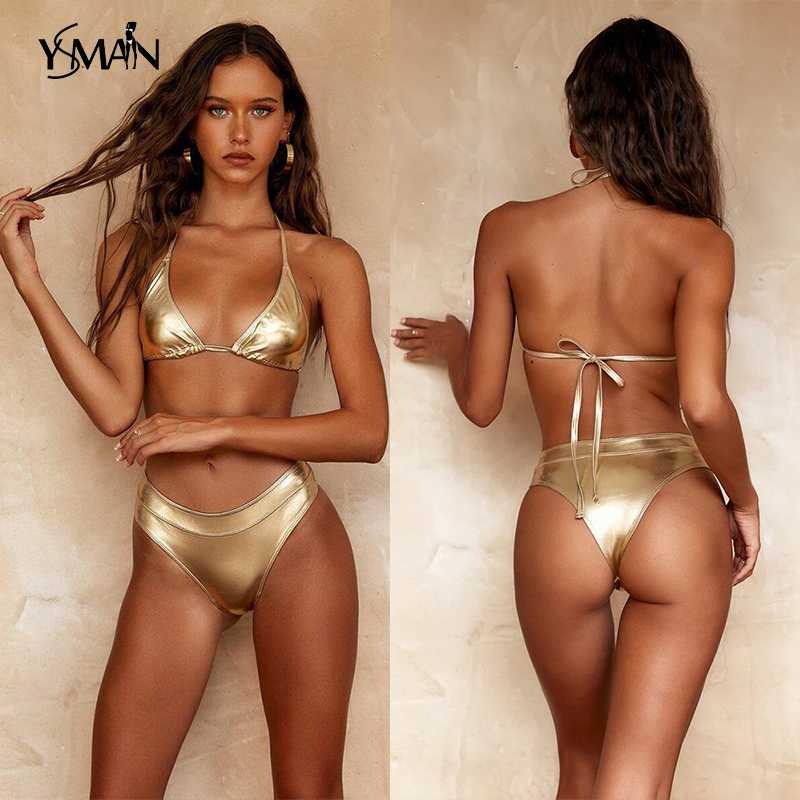 Yisiman Womens Bikini Swimwear 2019 Sexy Thong Bikini Set Golden EXtreme Swimsuit Women Micro Summer Biquini Female Bandage Suit