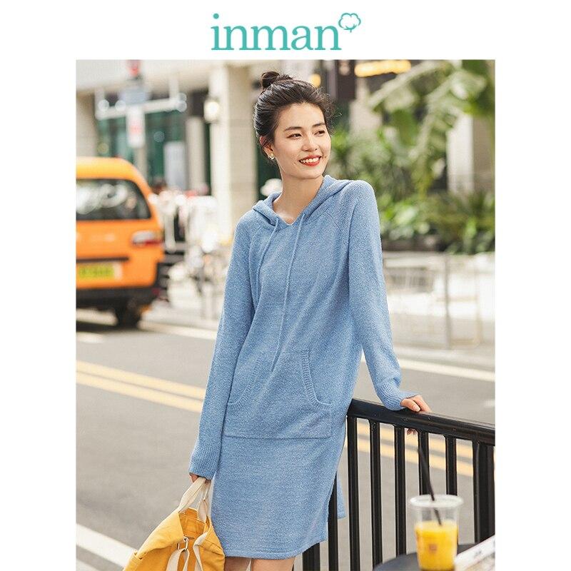 INMAN Winter Literary Sky Blue Hooded Knitted Long Sleeve Women Dress