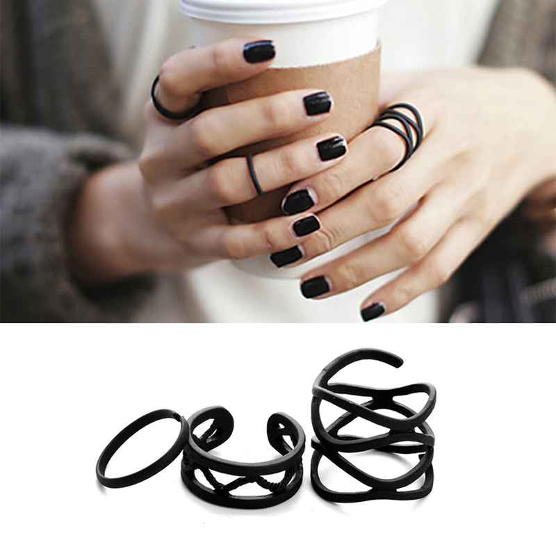 Rings Knuckle Stack Cross-Finger-Tip Punk Plain Black Women Female for 3pcs Multilayer title=