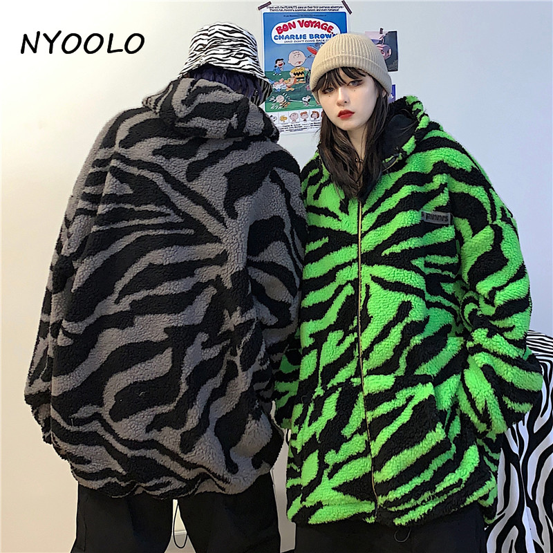 H500951fd5bfc490da76ea8c75d7e8d5fS NYOOLO 2020 Winter Streetwear Zebra Pattern Lamb Woolen Thicken Warm Zipper Hooded Padded Coats Women Men Harajuku Loose Outwear