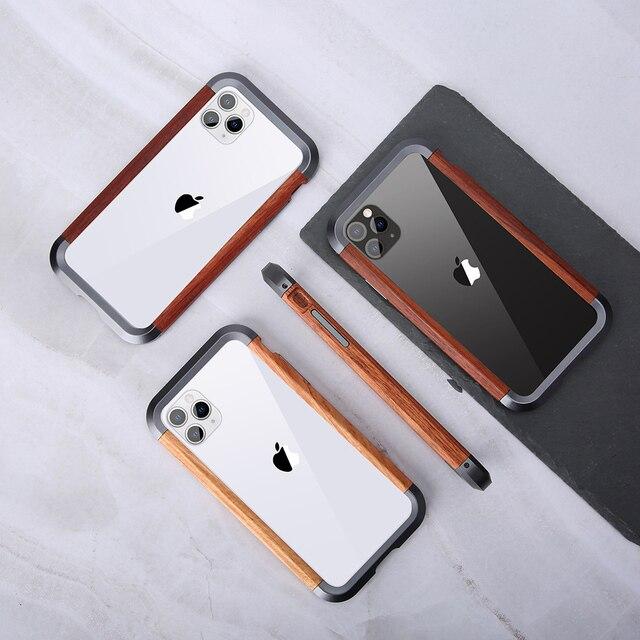 إطار فاخر مقاوم للصدمات من الألومنيوم + الخشب لهاتف أبل آيفون 12 برو ماكس 11 × XS ماكس XR حافظة هاتف صغيرة لحماية السجل المعدني