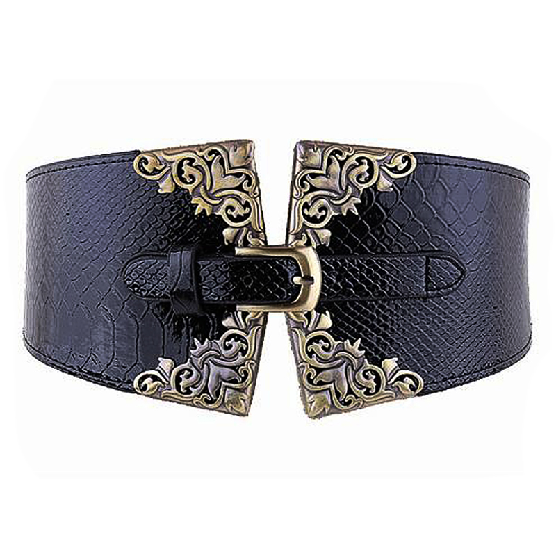 Lady Women Elastic Waistband Faux Leather Wide Waist Belt Retro Metal Buckle