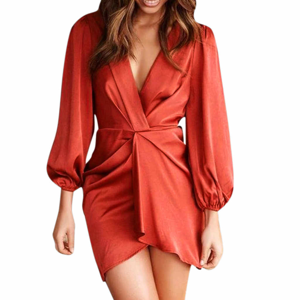 Dropshipping 캐주얼 탑 플러스 사이즈 패션 패션 여성 섹시한 긴 소매 드레스 autnmn v-목 솔리드 비정규 미니 드레스 여성