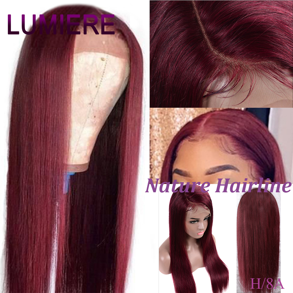 Brazilian Wig 13x4 Straight  Lace Front Wig 99J Lace Front Human Hair Wigs For Black Women Pre-Plucked Remy Hair Lumere Hair
