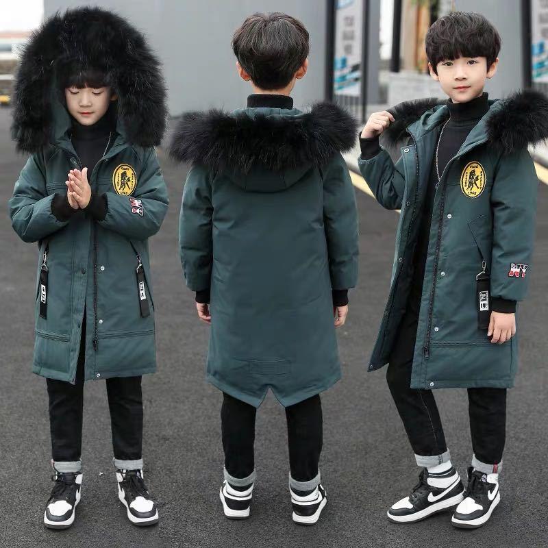 Паркер для мальчиков, зимняя хлопковая куртка для больших детей, зимняя пуховая стеганая куртка, пальто, красивая детская одежда средней дл...