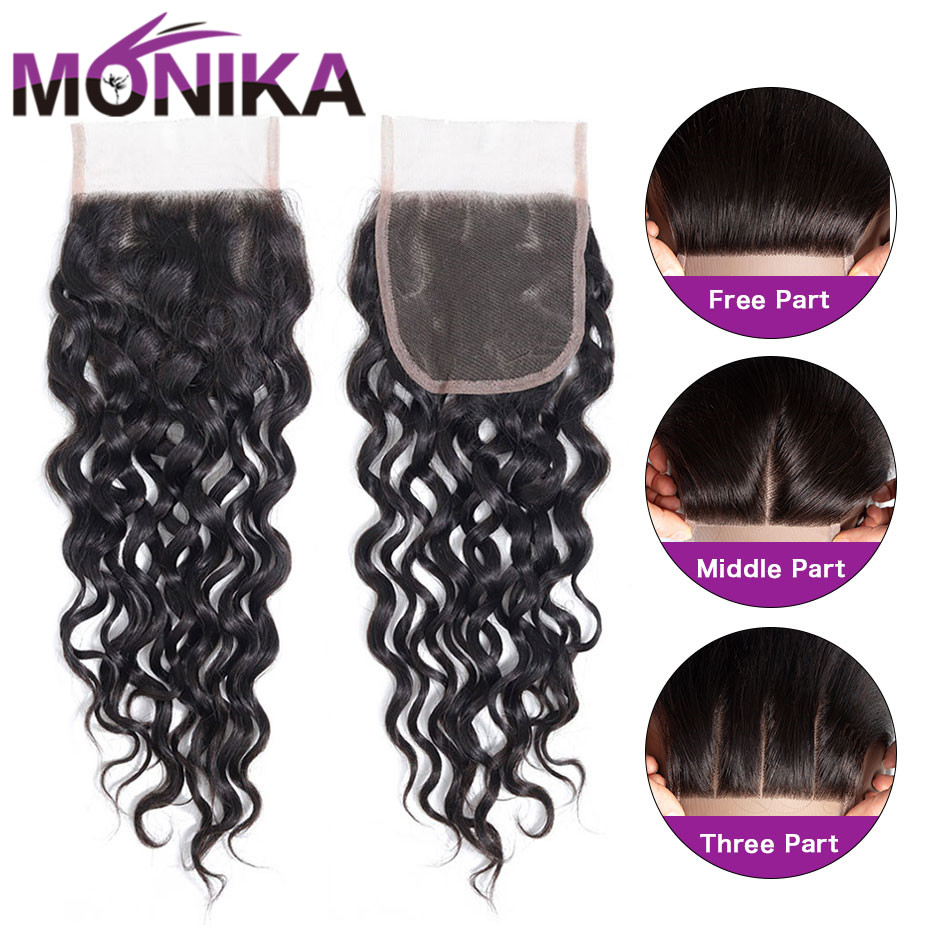 Monika Water Wave Closure Hair 4x4 Swiss Lace Closure 130% Density Human Hair Closure Middle/Free/3 Part Lace Closures Non-Remy