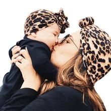 Bebê recém-nascido menina menino mãe turbante chapéu arcos flor cabeça envoltório leopardo índia chapéu de algodão boné pai-criança terno gorro