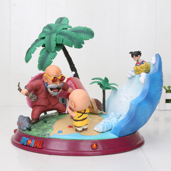 22cm Anime Dragon Ball Son Goku Krillin Master Roshi Turtle Fairy House Bust GK Statue PVC Action figure Collectible Model toys