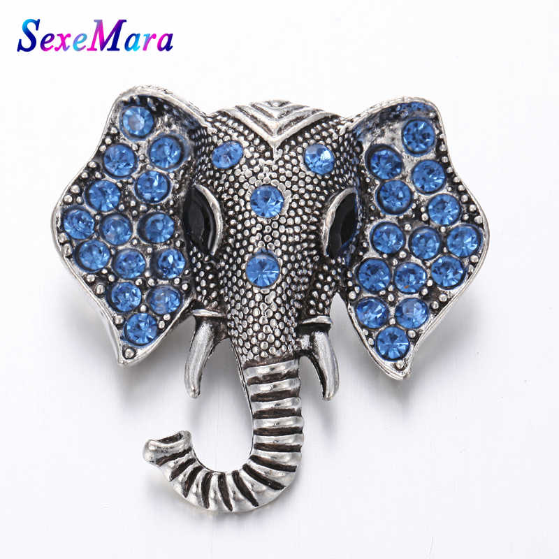 New Snap Jewelry Big Crystal Elephant Metal 18mm Snap Button Lucky Gift Fit Snap Button Bracelet Bangles DIY Buttons Jewelry