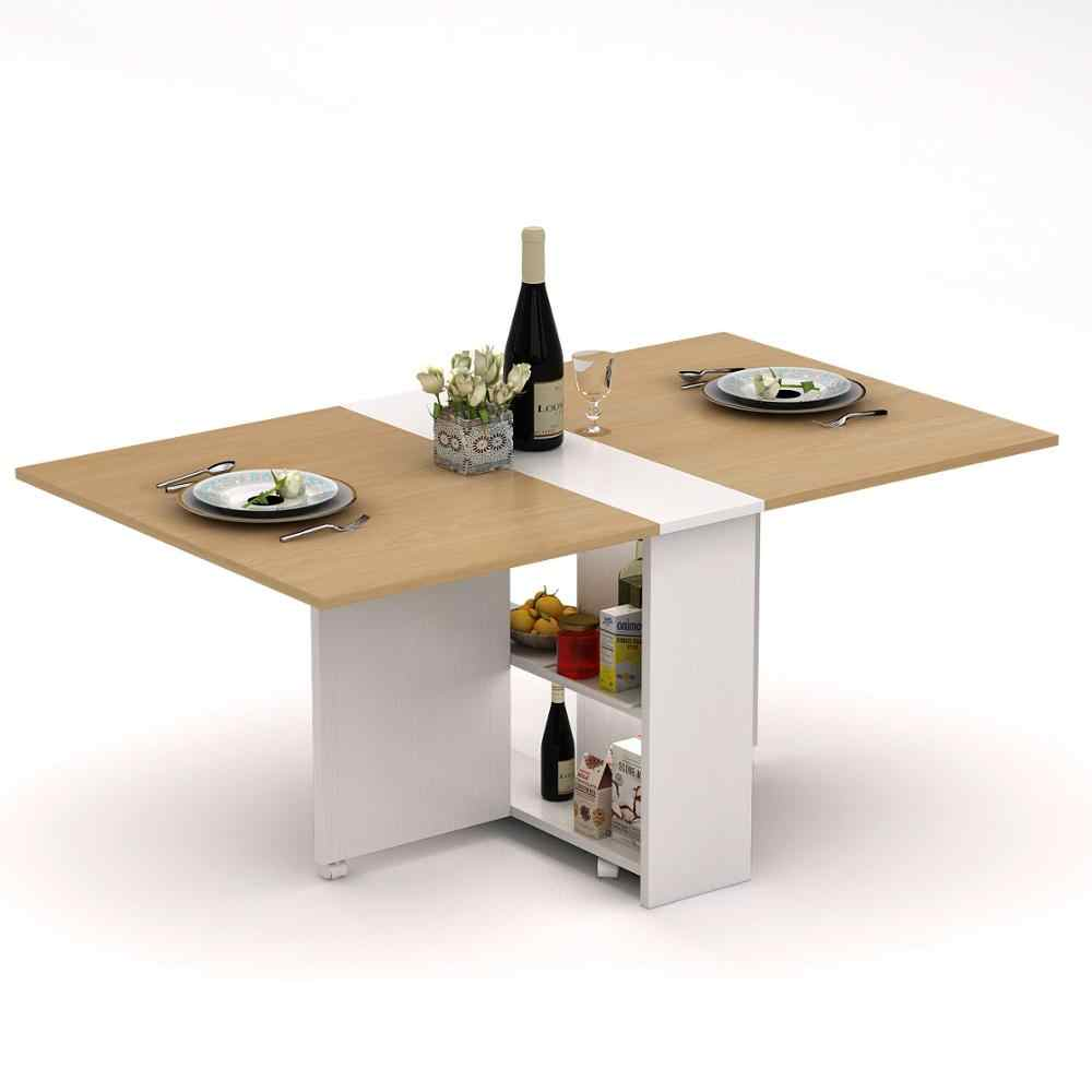 - Folding Extendable Dining Table Pear Wood Color Movable Table With