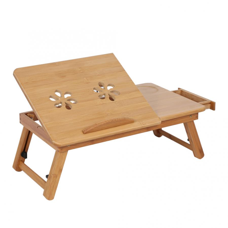 Adjustable Bamboo Rack Shelf Dormitory Bed Lap Desk Two Flowers Book Reading Tray Stand