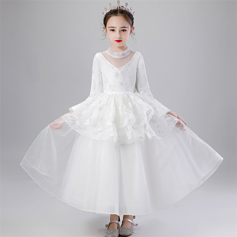 Children Girls Elegant New Snow White Color Wedding Party Birthday Princess Long Dress Kids Teens Host Piano Costumes Prom Dress