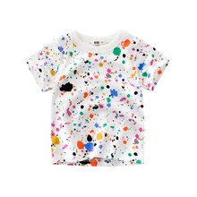 Lioraitiin 1-10 ans été infantile bébé garçons filles à manches courtes Doodle haut coloré imprimé T-Shirt pull ample vêtements