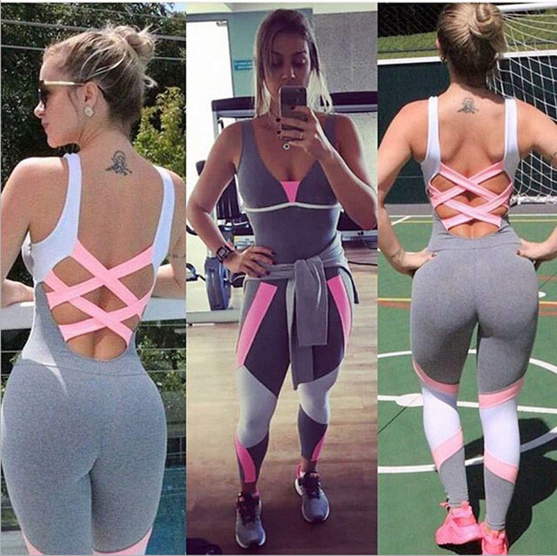 Fashion Yoga Set Women Gym Sporting Playsuit Clothing Exercise Top Jumpsuit Running Sportswear Soft Yoga Leggings