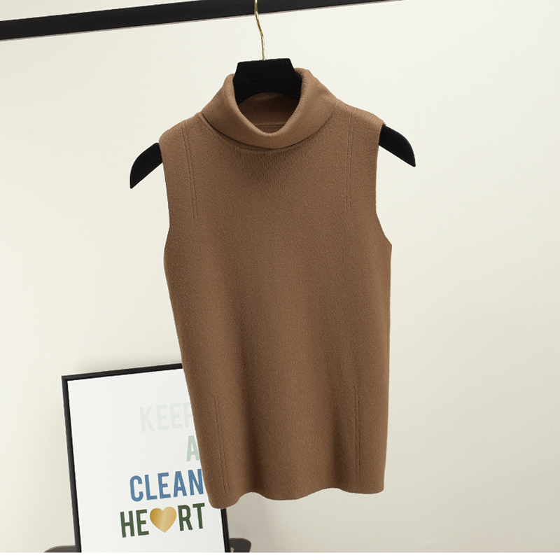 Summer Sleeveless Tops Women Knitted Sweater Turtleneck Pullover Female T-shirt Breathable Tee Shirt Knitwear