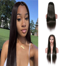 13x4 Heat Resistant Hair Black Color Synthetic Lace Front Wig For Black Women Middle Part Hand Tied Long Silky Straight Lace Wig natural lace front wigs for black women synthetic hair middle part wig pink straight hair style