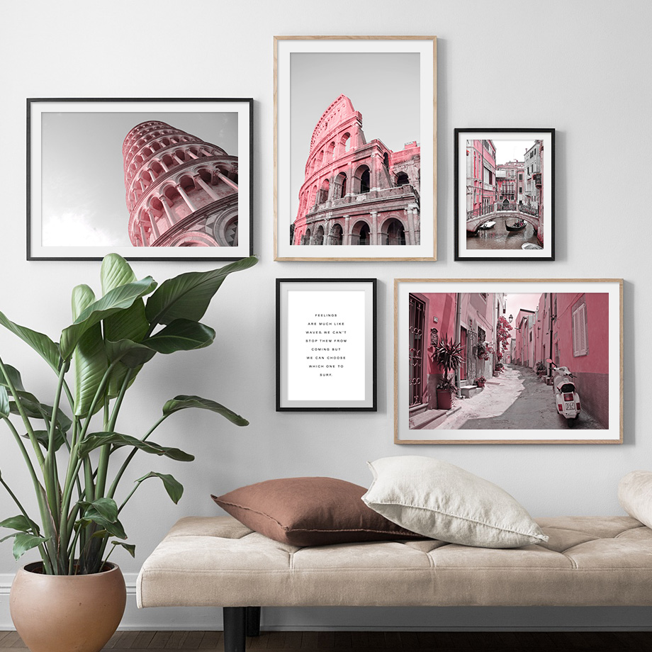 Italy Pisa Tower Rome Colosseum Street Wall Art Canvas Painting Nordic Posters And Prints Wall Pictures For Living Room Decor