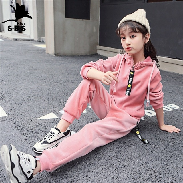 Autumn and Winter Childrens Clothing Big Size for 4 To 10 Years Old Sports Set 2 Piece Gold Velvet Sweater Suit Tide Clothes