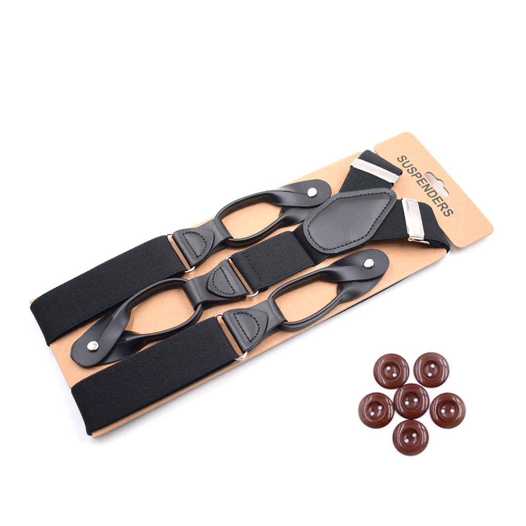 Black Blue Brown Suspenders For Men Y-Back Leather Trimmed Button End Elastic Tuxedo Suspenders Mens Fashion Accessories