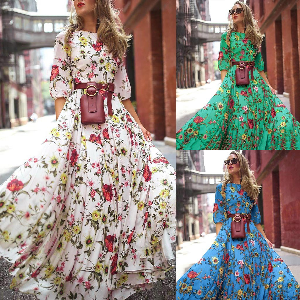 2020Nadafair Maxi Boho Floral Floral Dress Women Plus Size High Waist O-Neck Print Elegant Summer Beach Dress Vestidos