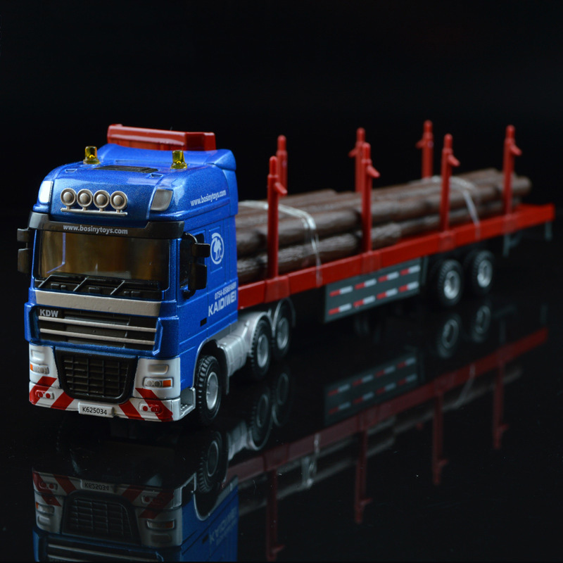 1/50 Scale Wood Timber Truck Diecast Alloy Engineering Trailer Car Children's Toy Model Collection Display Show Gifts Display