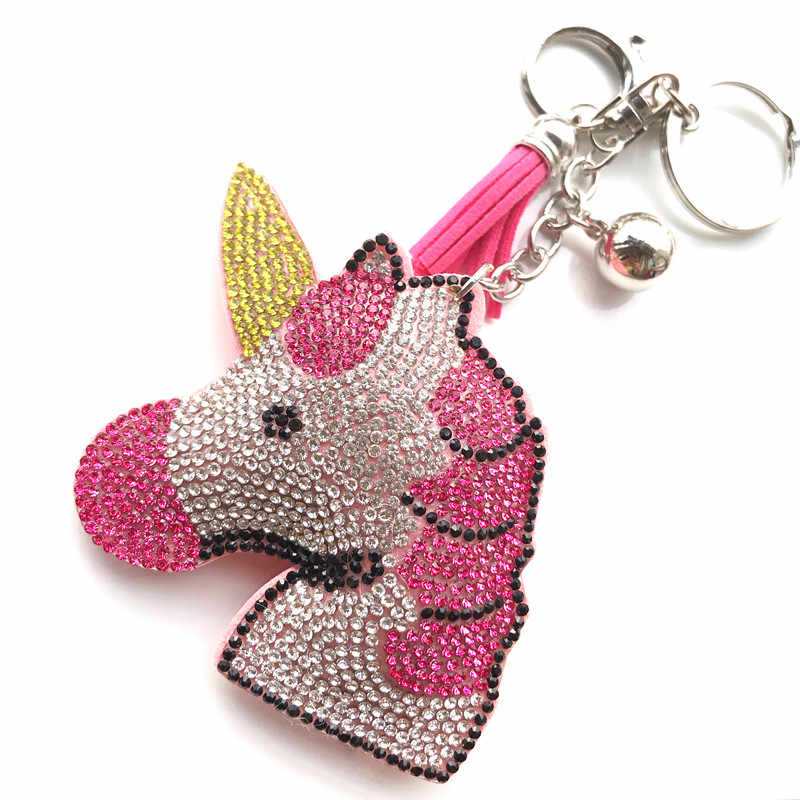 Leather Tassel Rhinestone Keychain Crystal Sliver Chain Key Ring Women's Holder Car bag Lucky Big Unicorn Animal Pendant Jewelry