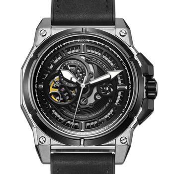 DURIUEU Alemania-viento Reloj mecánico de los hombres automática grande y cuadrado de caucho negro Reloj de pulsera Hombre de lujo 2020 Reloj