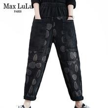 Warm Jeans Max-Lulu Womens Trousers Harem-Pants Elastic Vintage Printed Denim Korean