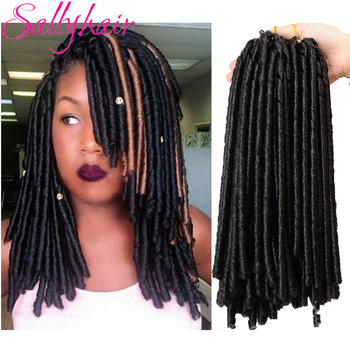 Sallyhair 14inch 70g/pack Crochet Braids Synthetic Braiding Hair Extension Afro Hairstyles Soft Faux Locs Brown Black Thick Full - discount item  42% OFF Synthetic Hair