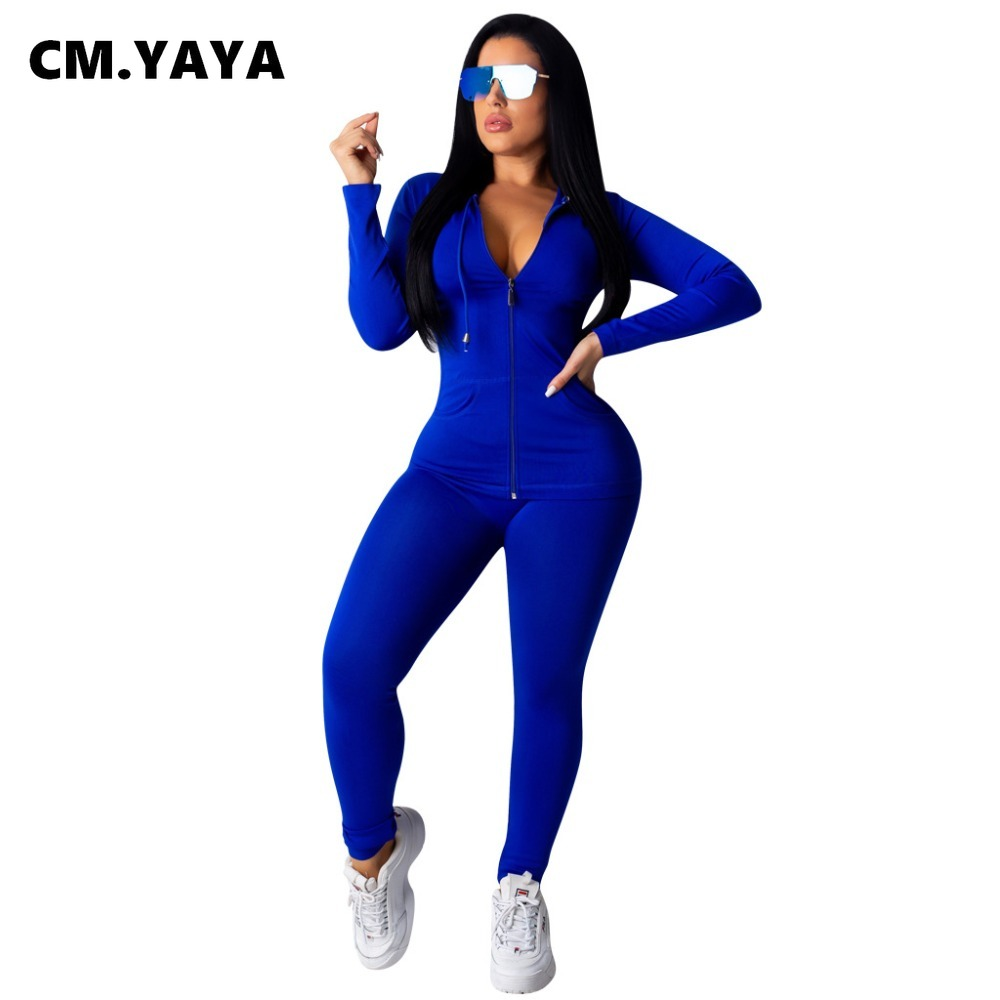 CM.YAYA autumn Women Solid zipper up long sleeve hooded top pencil pants suit two piece set casual sporting tracksuit outfit 3