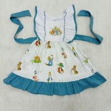 Одежда для маленьких девочек, пасхальное платье для маленьких девочек с кроликом, платья с короткими рукавами и поясом