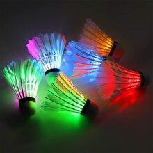 6 pçs badminton noite escura colorido iluminação led esporte badminton peteca passarinhos luz ao ar livre ponto shuttle cock