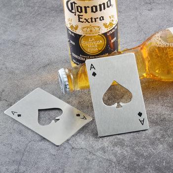 Gorąca sprzedaż przenośne ze stali nierdzewnej Spade otwieracz do butelek w kształcie pokera karty do piwa butelka otwieracz do rzucania i cięcia tanie i dobre opinie 14 lat Inne buławy Normalne bottle opener Nieograniczona 0-30 minut Podstawowym Stop