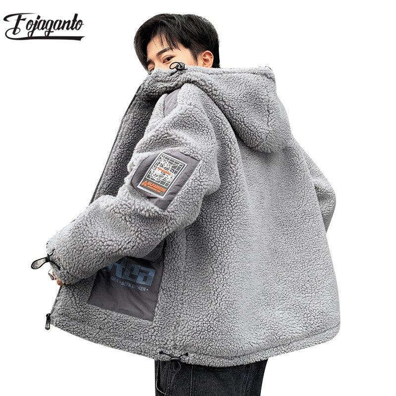 FOJAGANTO Men's Winter Fleece Jacket Men Brand Outdoor Tourism Warm Hooded Coat Ski Hiking Comfortable Male Jackets