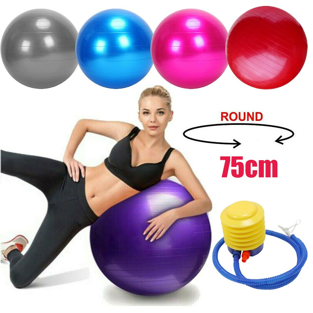 75cm Yoga Ball Fitness Balls Sports Pilates Birthing Fitball Exercise Training Workout Massage Ball Gym ball Anti Burst Pump#g4